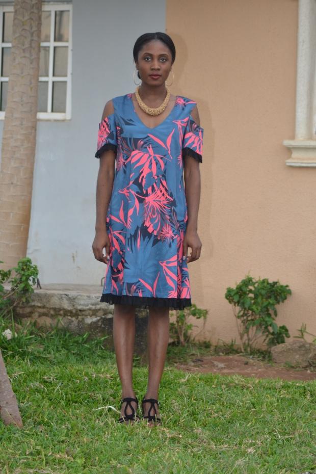 Serenity cold-shouder dress by Keji Victoria. Womenswear